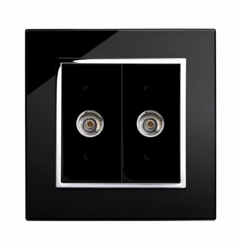 RetroTouch Dual TV Coax Socket Black Glass CT 00322